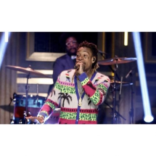 Wiz Khalifa wearing Saint Laurent SS 16 Palm & Dino cardigan