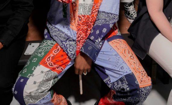 asap rocky wearing bandana loewe jaquard