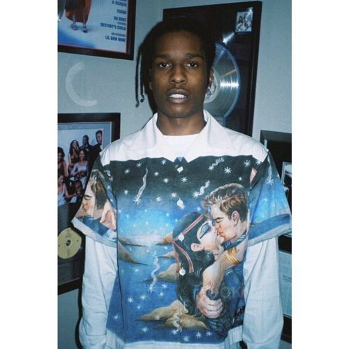 Asap Rocky wearing PRADA AW 16 IMPOSSIBLE TRUE LOVE SHIRT shirt