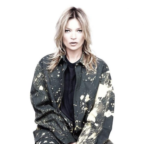 Kate Moss wearing Raf x Sterling Ruby FW14 shirt