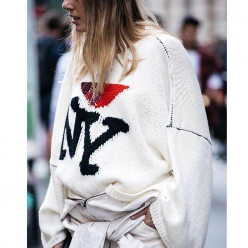 Girl wearing Raf Simons FW 17 I love NY white sweater