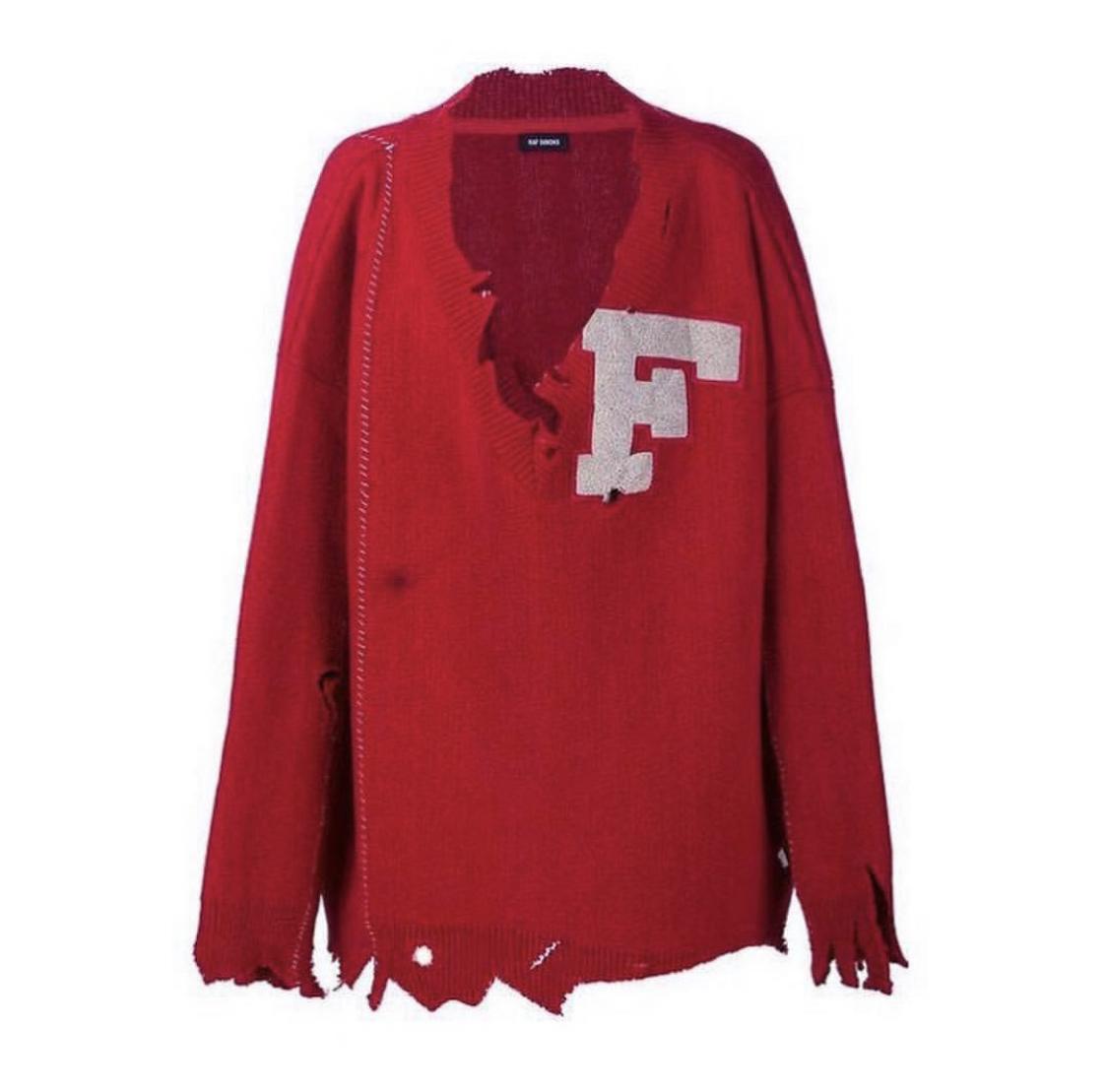 Raf Simons FW 16 red varsity sweater