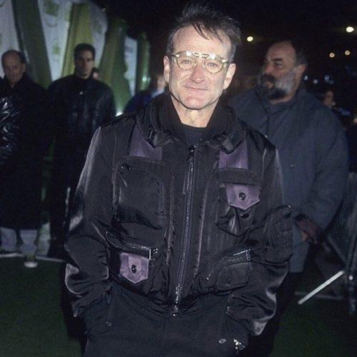 Robin Williams wearing Issey Miyake AW 96 bomber