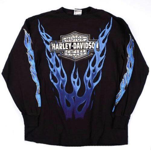 Harley Davidson flames longsleeve t shirt