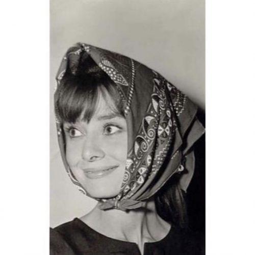 Audrey Hepburn wearing babushka