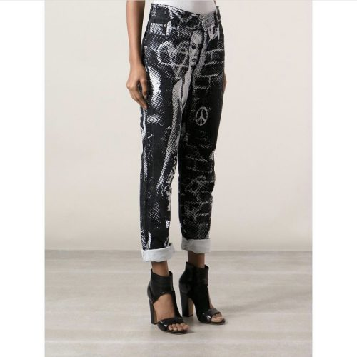 girl wearing gaultier fight racism pants