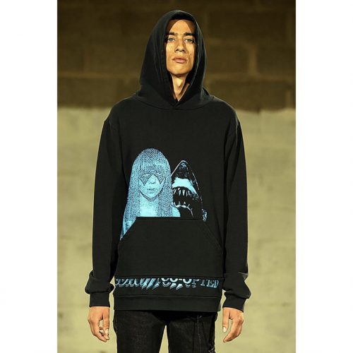 mode wearing Raf Simons SS 03 Consumed blue hoodie
