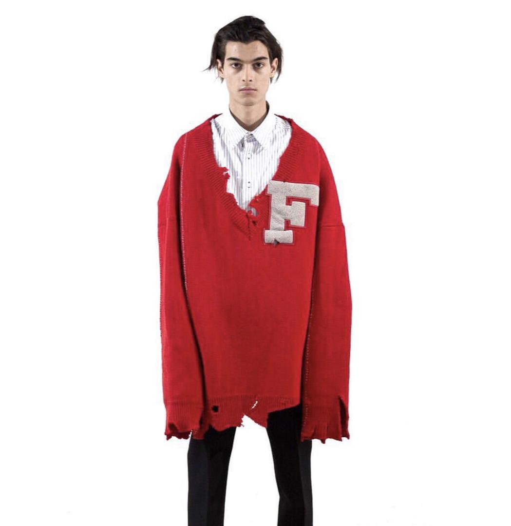 wearing Raf Simons FW 16 red varsity sweater
