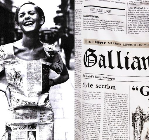 newspaper print trend galliano history